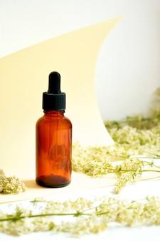Zioła lecznicze i butelki lecznicze. pojęcie medycyny alternatywnej. suplement witaminy do pielęgnacji, przyjmowania leków i leczenia. skopiuj miejsce