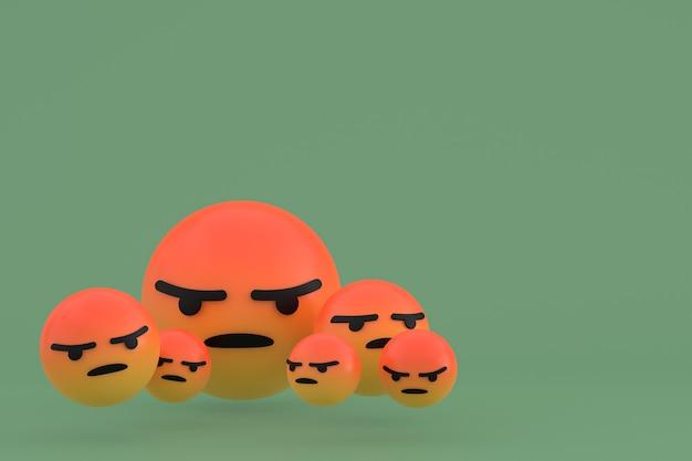 Zła ikona reakcje na facebooku renderowania emoji, symbol balonu mediów społecznościowych na zielonym tle