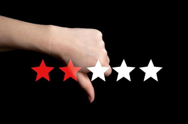 Zła recenzja, kciuk w dół z czerwonymi gwiazdkami za złą obsługę, niechęć do złej jakości