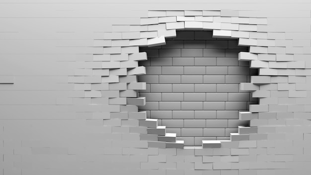 Złamał tło ściany z cegły