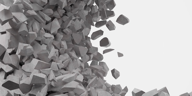 Złamana biała ściana z otworem w środku ilustracji 3d