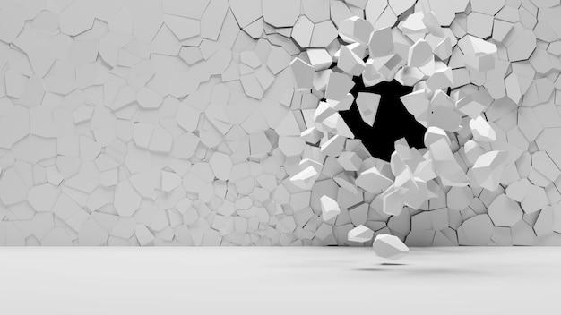 Złamana ściana betonowa z otworem