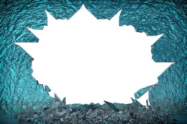Złamana ściana lodu na białym tle