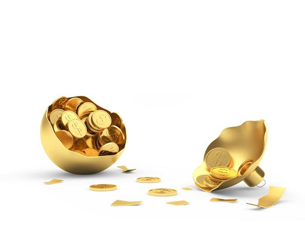 Złamana złota bombka z monetami
