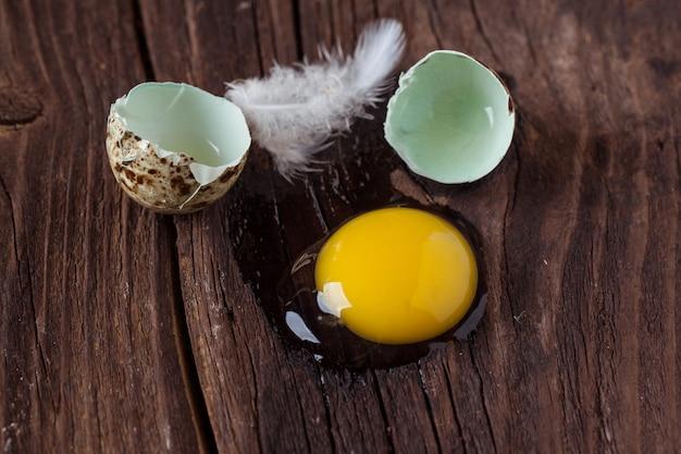Złamane jajko przepiórcze z wyciekającym żółtkiem
