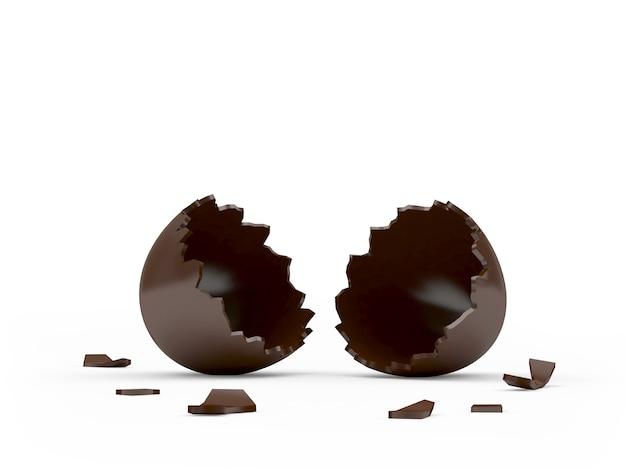 Złamane puste czekoladowe jajko wielkanocne