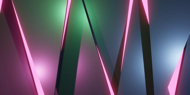 Złamany świecący trójkąt abstrakcyjne tło ilustracja 3d