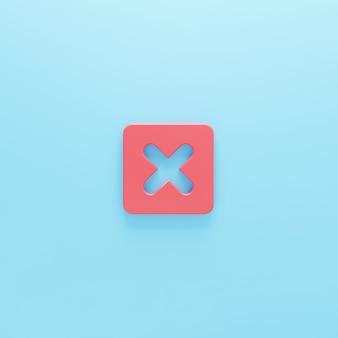 Źle symbol krzyża na białym tle renderowanie 3dodrzuć usuń znak litera x prawda lub fałsz ikona 3d