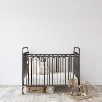 Żłobek wiejski. czarne metalowe łóżeczko w pobliżu pustej białej ściany. makieta wnętrza. renderowanie 3d.