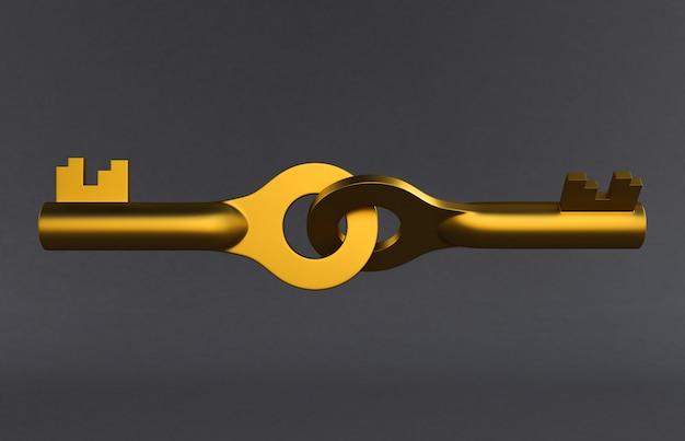 Złoci drzwi klucze odizolowywający na szarym tle. renderowanie 3d