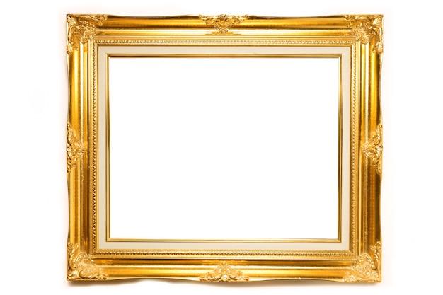 Złocista luksusowa louise fotografii rama nad białym tłem