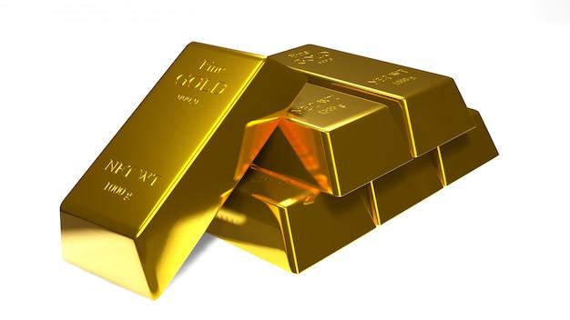 Złocisty bar i złota moneta dla biznesu., 3d rendering.