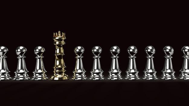 Złocisty kong szachy i srebro pionek na ciemnym brzmieniu, 3d rendering.