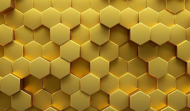 Złota abstrakcyjna nowoczesna ilustracja 3d o strukturze plastra miodu