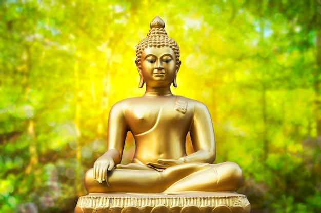 Złota buddha statua na złotym zielonym bokeh tle