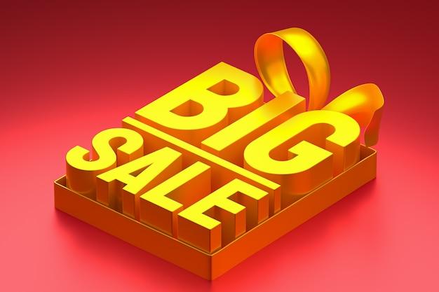 Złota duża sprzedaż renderowania projektu 3d do promocji sprzedaży z kokardą i wstążką na czerwonym tle na białym tle
