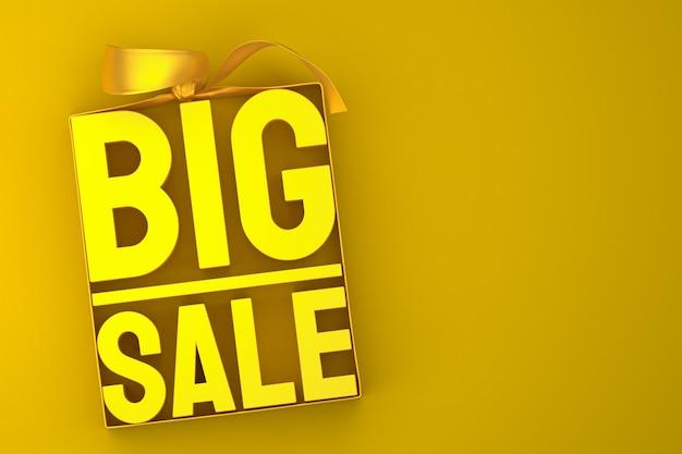 Złota duża sprzedaż renderowania projektu 3d do promocji sprzedaży z kokardą i wstążką na żółtym tle na białym tle