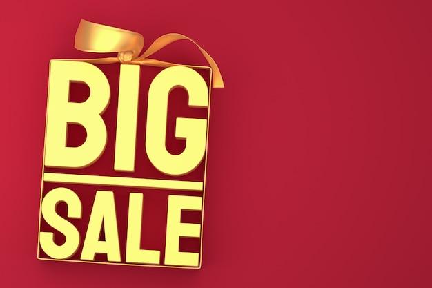 Złota duża sprzedaż tag 3d z kokardą i wstążką na czerwono na białym tle