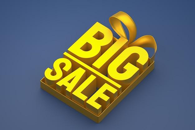 Złota duża sprzedaż tag 3d z kokardą i wstążką na granatowym na białym tle