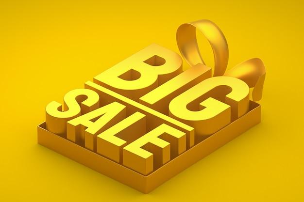 Złota duża sprzedaż tag 3d z kokardą i wstążką na żółtym tle