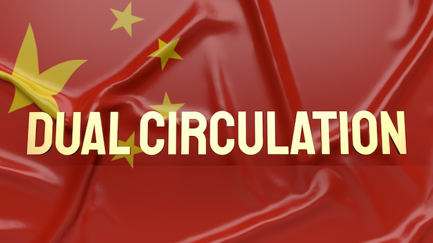 Złota flaga z podwójnym obiegiem umieszczona z przodu chińskiej flagi dla treści biznesowych