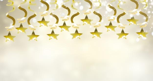 Złota girlanda z gwiazdami na świątecznym szarym tle z miejscem na kopię