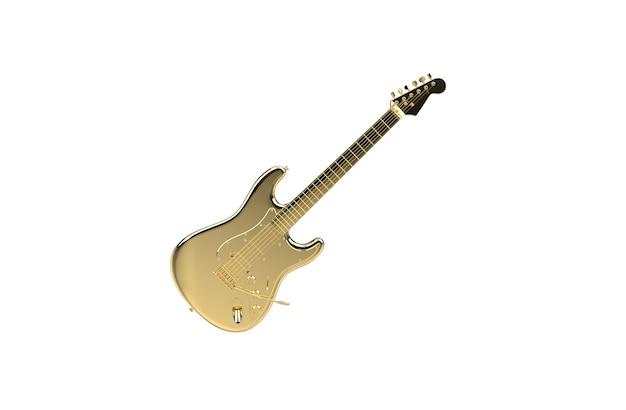 Złota gitara elektroniczna na białym tle