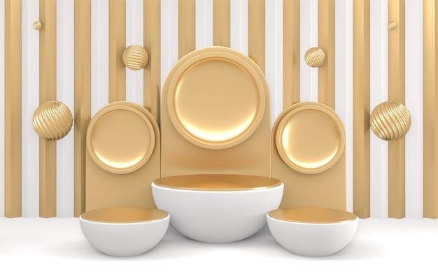 Złota i biała minimalna scena z podium minimalistycznym projektem 3d