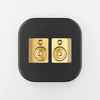 Złota ikona głośników. renderowania 3d czarny kwadratowy przycisk, element interfejsu ui ux.