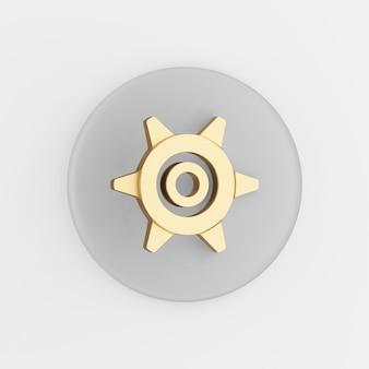Złota ikona koła zębatego w stylu cartoon. 3d renderowania szary okrągły przycisk klucz, element interfejsu ui interfejsu użytkownika.