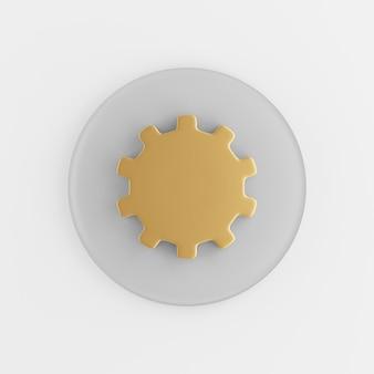 Złota ikona koła zębatego w stylu płaski. 3d renderowania szary okrągły przycisk klucz, element interfejsu ui interfejsu użytkownika.