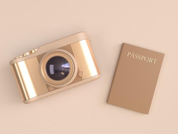 Złota kamera błyszczące odbicie i brązowy paszport na kremowym minimalnym stylu renderowania 3d