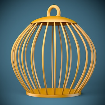 Złota klatka dla ptaków na niebieskim tle