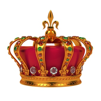 Złota korona królewska na białym tle.