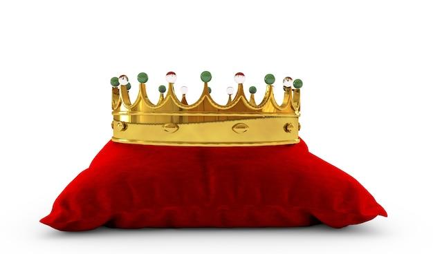 Złota korona na czerwonej poduszce renderowania 3d