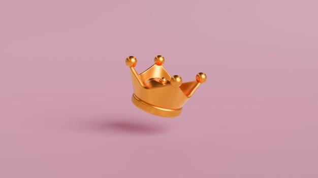 Złota korona na różowym tle z koncepcją zwycięstwa lub sukcesu.