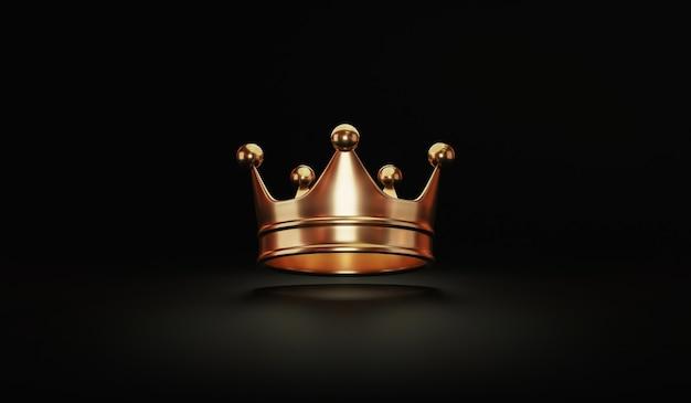 Złota królewska korona króla na czarno