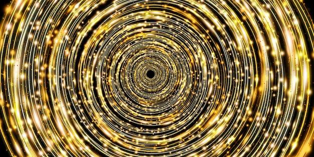 Złota krzywa światła abstrakcyjne tło koło blask blask 3d