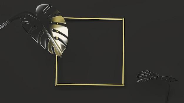 Złota kwadratowa ramka na czarnym tle z liśćmi monstera. ilustracja 3d. przedni widok. makieta abstrakcyjnej geometrii kwiatowej, czarne oświetlenie klucza. szkło matowe