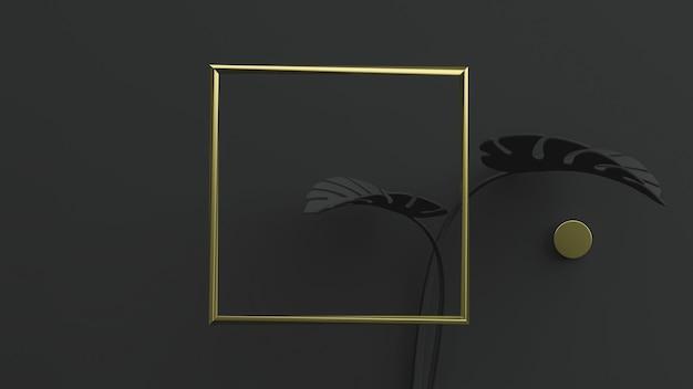 Złota kwadratowa ramka na czarnym tle z liśćmi monstera. ilustracja 3d. przedni widok. makieta abstrakcyjnej geometrii kwiatowej, czarne oświetlenie klucza.