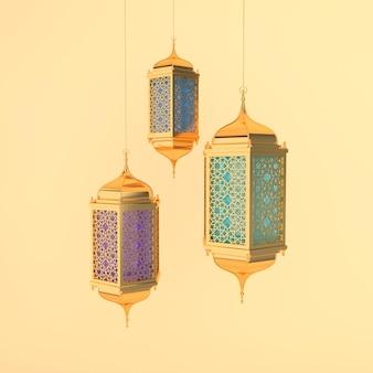 Złota latarnia z kolorowym szkłem, lampa z arabską dekoracją, arabeskowy wzór