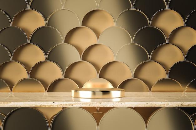 Złota metalowa podstawa na marmurze trawertynowym, grafika złote rybie łuski na beżowym tle. renderowanie 3d