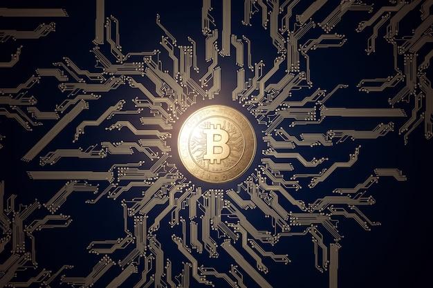 Złota moneta bitcoin na czarnym tle.