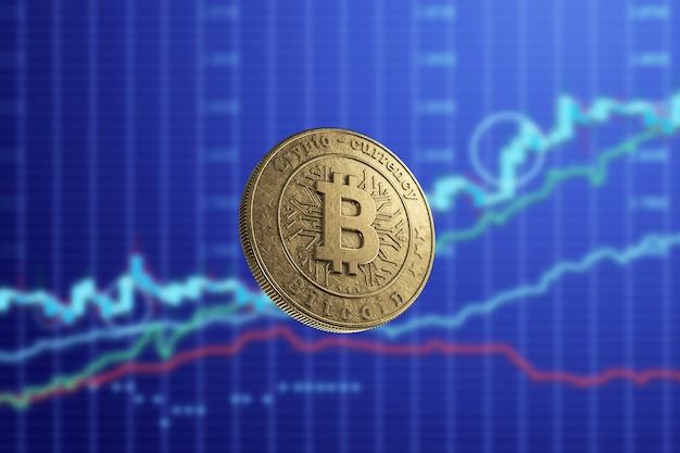 Złota moneta bitcoin na tle wykresów biznesowych, niebieskie tło.