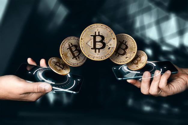 Złota moneta bitcoin. waluta. technologia blockchain.