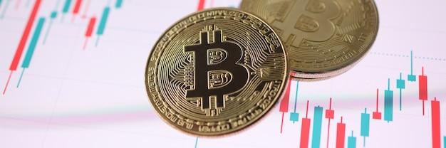 Złota moneta kryptowaluty bitcoin leżąca na wykresie handlowym. koncepcja wymiany kryptowalut