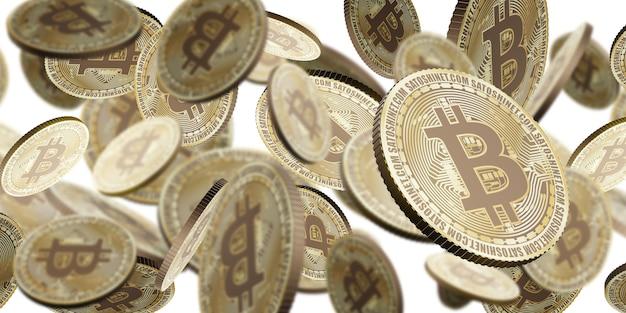 Złota moneta kryptowaluty bitcoin unosząca się w powietrzu 3d ilustracja tło