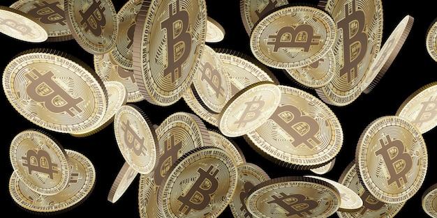 Złota moneta kryptowaluty bitcoin unosząca się w powietrzu ilustracja 3d tła