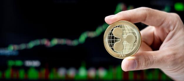 Złota moneta marszczyć z tłem wykresu