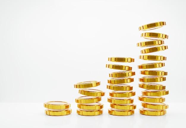 Złota moneta na białym tle z miejsca na kopię renderowania 3d